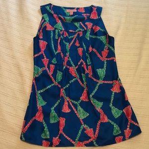 Lilly Pulitzer Silk Top w/ Tassel Print